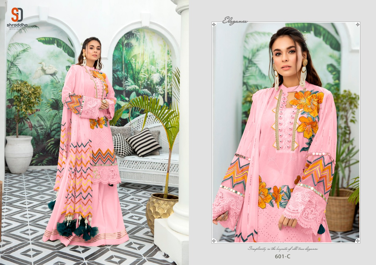 Shraddha Designer Charizma Color Edition Designer Pure Cotton With Chicken Work And Heavy Embroidery Work Pakistani Pattern Suits In Singles