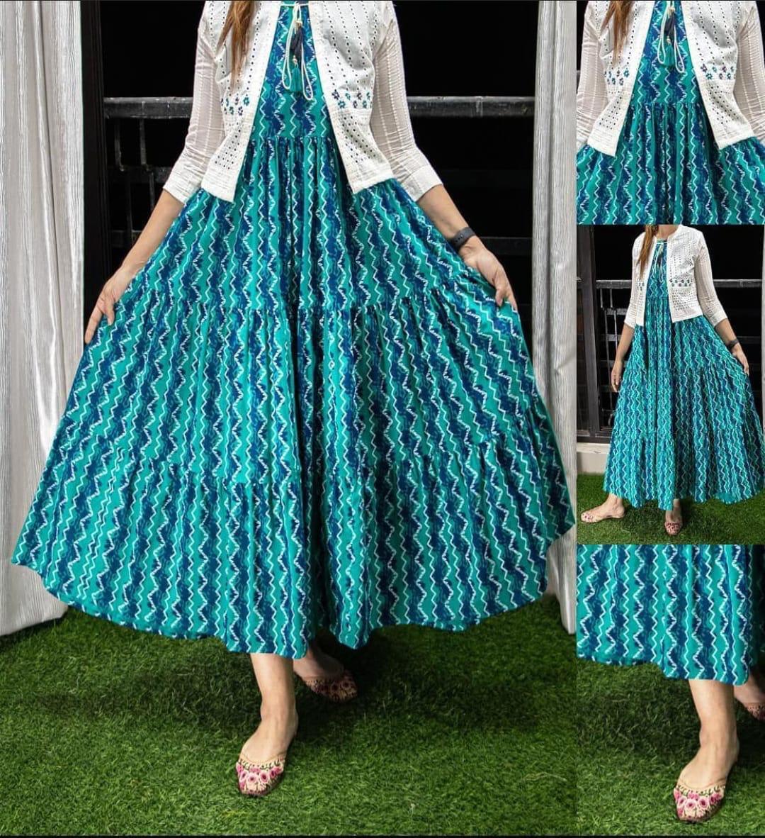 Designer Digital Printed Kurti With Kotti Rayon Printed Kurti With Rayon Cotton Shifli Work Koti In Singles