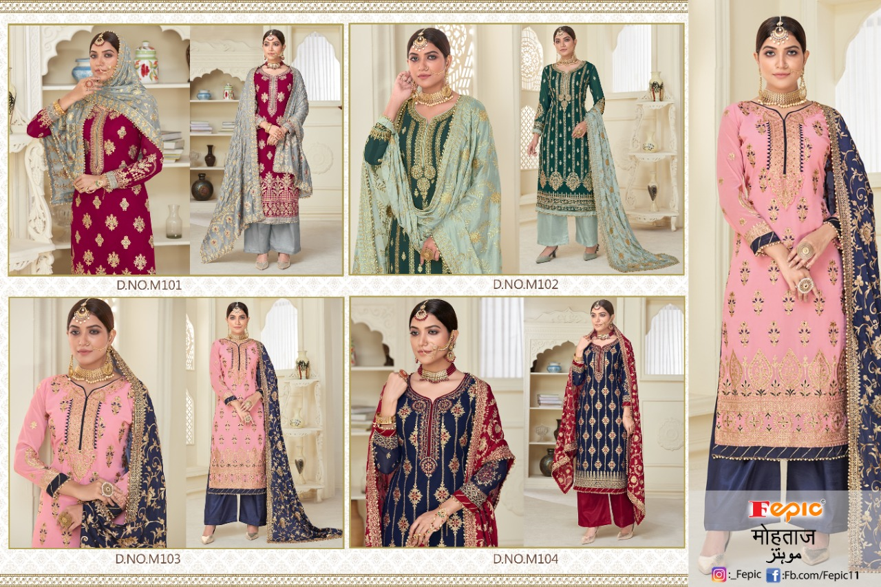 Fepic Mohtaz Designer Fox Georgette With Heavy Embroidery Work And Handwork Pakistani Pattern Partywear Suits In Best Wholesale