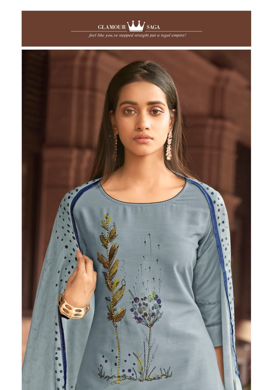 Lily & Lali Fabulous 2 Designer Bemberg Silk With Fine Brush Print And Handwork Outdoor Wear Readymade Suits Wholesale