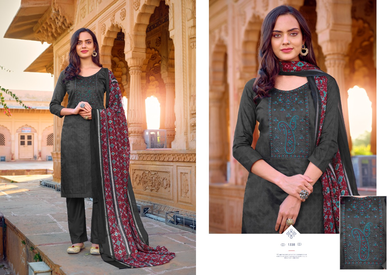 Bipson Kadahi Designer Pure Jam Satin With Embroidery Work Low Range Suits Wholesale