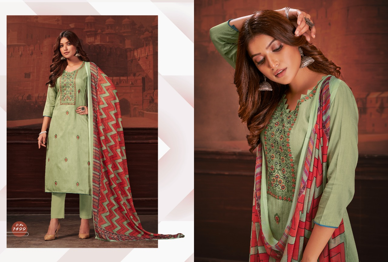 Bipson Raag Jam Satin Print With Embroidery Work Suits Wholesale