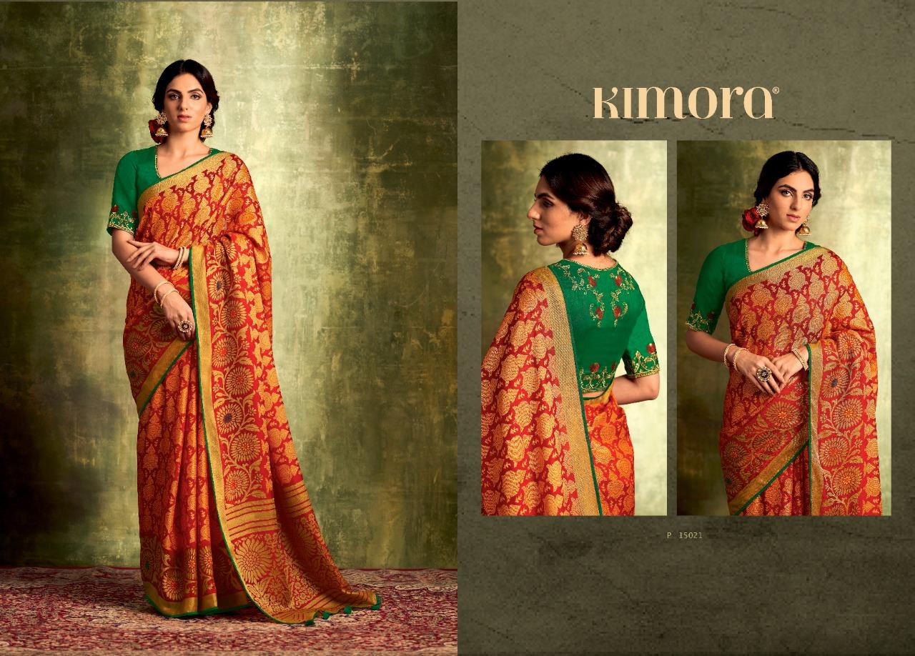 Kimora Meera Designer Khushi Brasso Printed With Embroidery Work Sarees Wholesale