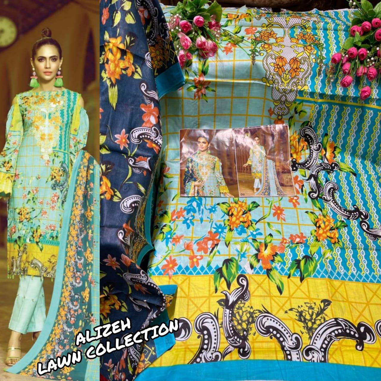 Alizeh Lawn Designer Pure Lawn Digital Printed Low Range Suits In Best Wholesale Rate
