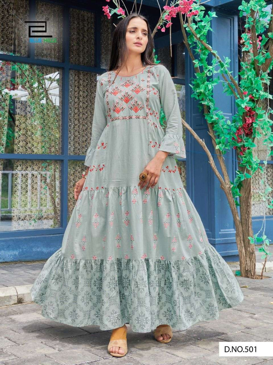 BLUE HILLS LIVIK VOL 5 DESIGNER COTTON CAMBRIC WITH NECK EMBROIDERY LONG FRILL GOWNS WHOLESALE