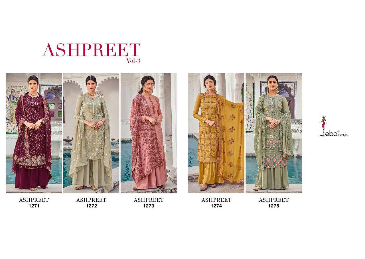 EBA LIFESTYLE ASHPREET DESIGNER FOX GEORGETTE WITH HEAVY EMBROIDERY WORK PARTYWEAR SUITS WHOLESALE