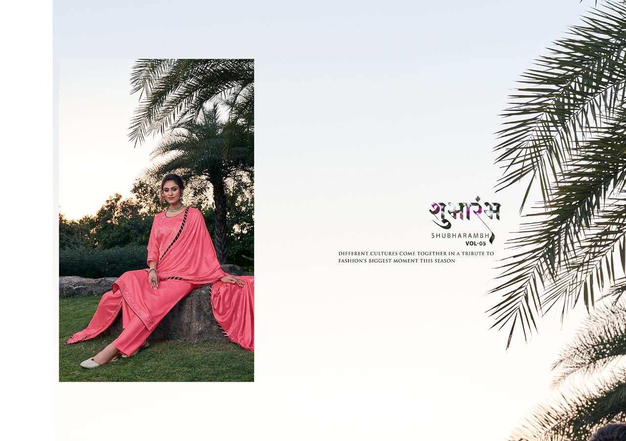 FOURDOTS SHUBHARAMBH VOL 5 DESIGNER MODAL SATIN WITH FANCY SEQUENCE WORK SUITS WHOLESALE