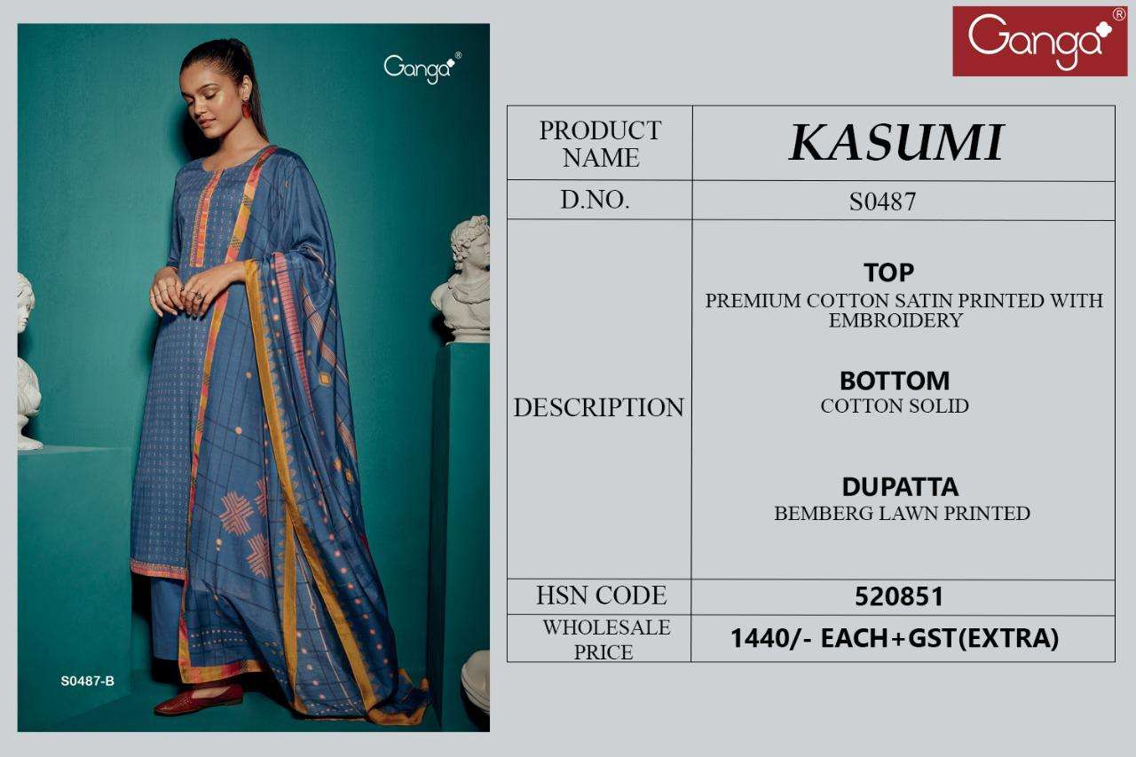 GANGA KASUMI 487 FOUR COLOR MATCHING DESIGNER COTTON SATIN PRINTED WITH EMBROIDERY WORK SUITS WHOLESALE
