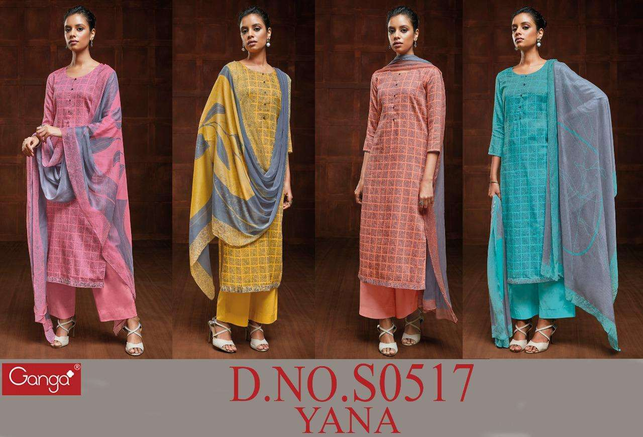 GANGA YANA 517 DESIGNER COTTON SATIN PRINTED WITH HAND CRAFTED BUTTON WORK SUITS WHOLESALE