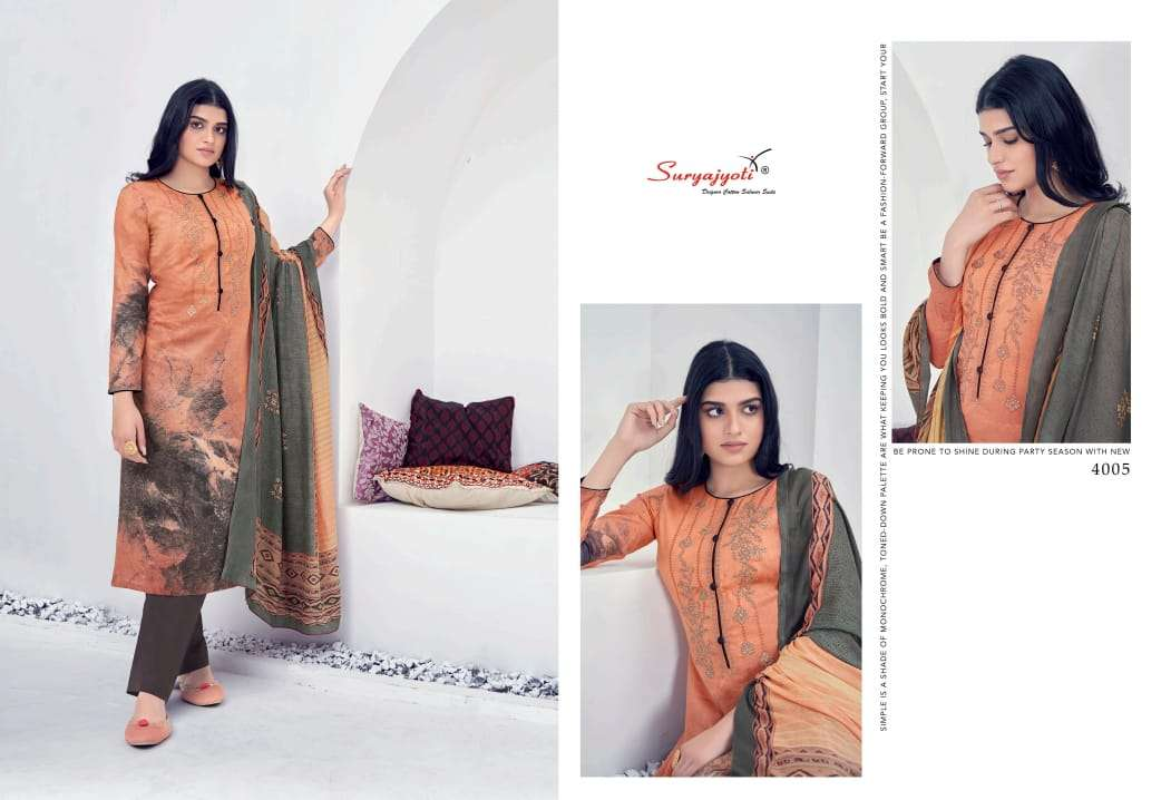 SURYAJOTI SHADED VOL 4 DESIGNER SATIN COTTON WOTH WORK SUITS WHOLESALE