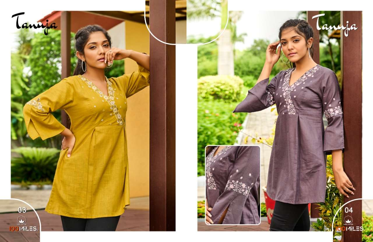 100 MILES TANUJA DESIGNER COTTON WITH LACE DETAILING AND EMBROIDERY WORK SHORT KURTIS/TOPS WHOLESALE