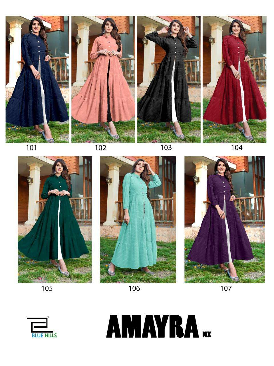 BLUE HILLS AMAYRA NX DESIGNER BUBBLE GEORGETTE WITH LONG SLEEVES AND CENTER CUT LONG GOWNS WHOLESALE
