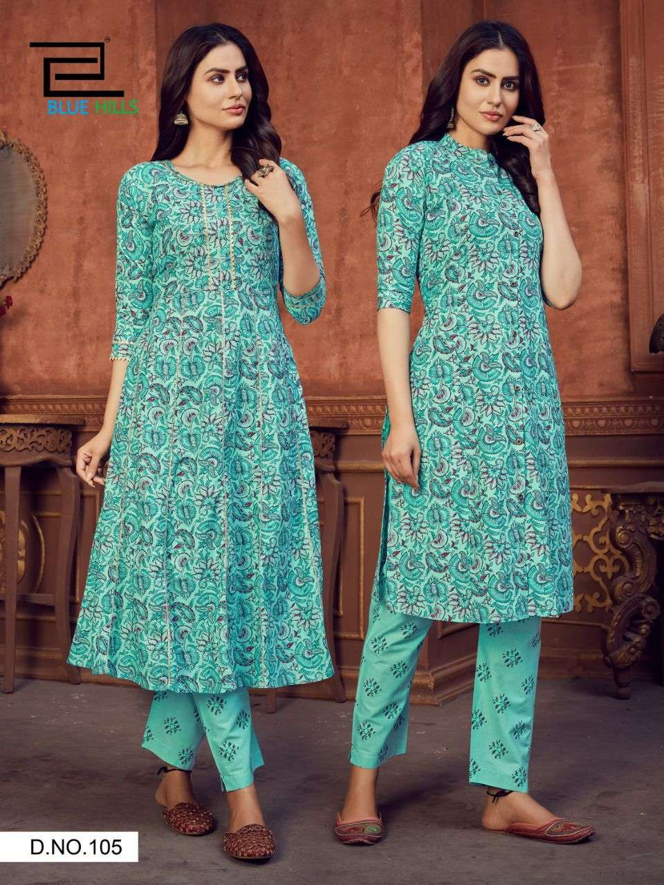 BLUE HILLS FUSION VOL 1 DESIGNER CAMBRIC COTTON ANARKALI AND PRINCESS CUT TWO TOP WITH ONE BOTTOM WHOLESALE