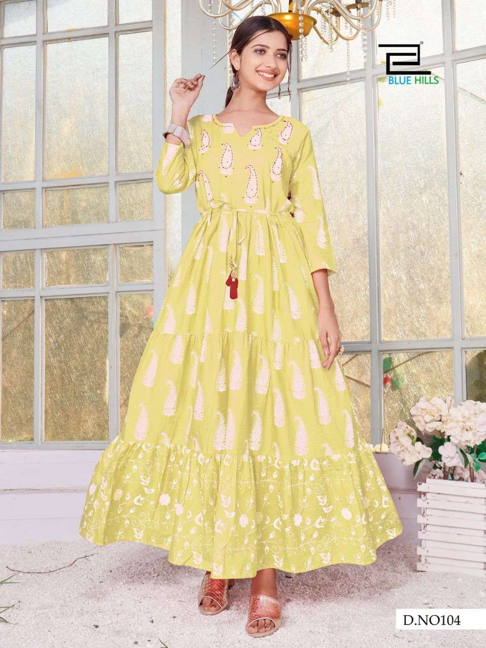 BLUE HILLS TREND 4 YOU DESIGNER CAMBRIC COTTON PRINT WITH HANDWORK LONG GOWNS WHOLESALE