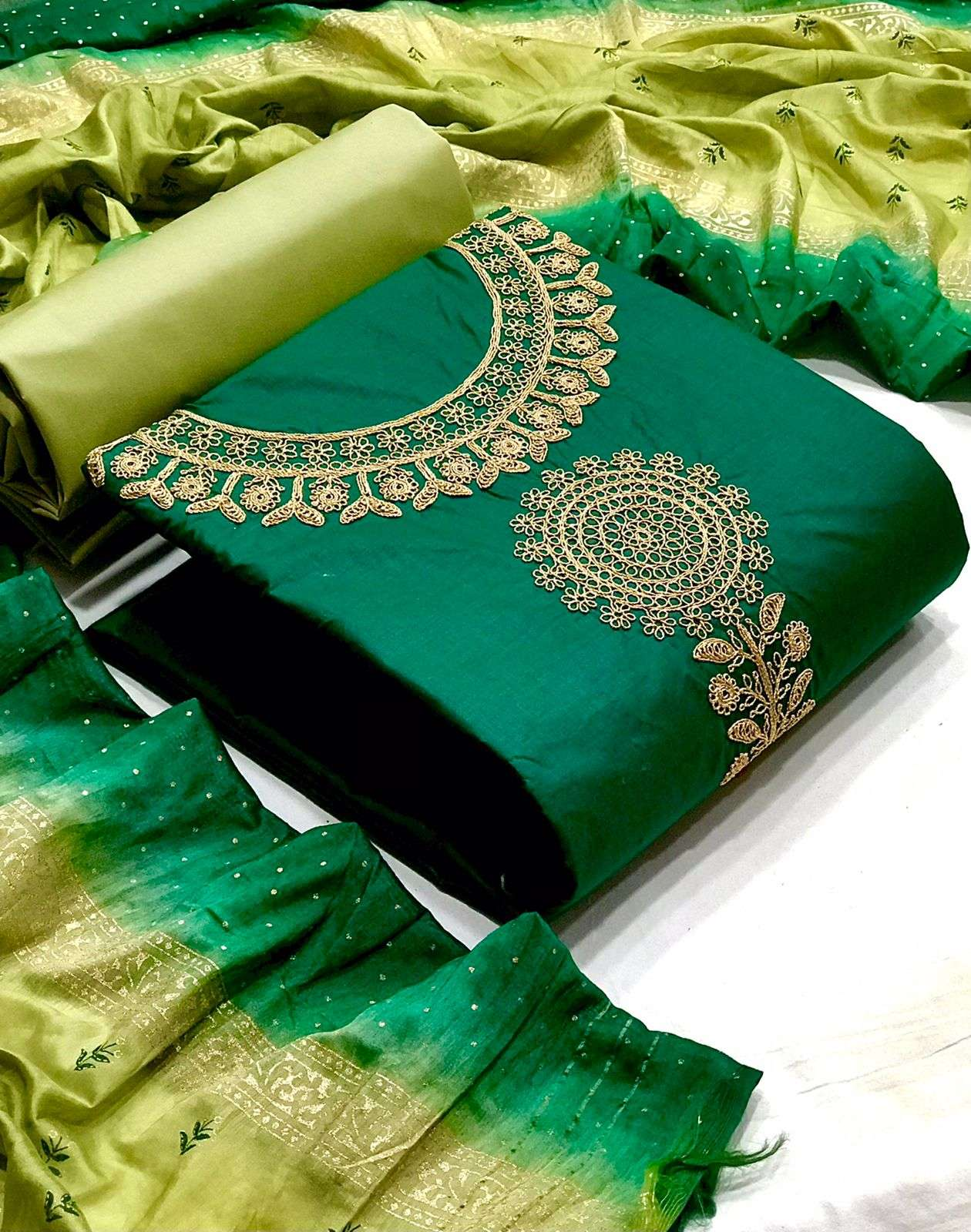 D.NO. 4 DESIGNER COTTON WITH NECK COADING EMBROIDERY WORK CASUAL WEAR SUITS IN SINGLES