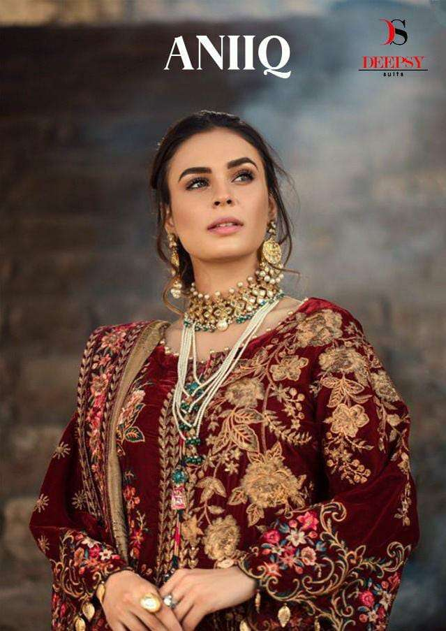 DEEPSY SUITS ANIQ VELVET COLLECTION DESIGNER PURE VELVET WITH EMBROIDERY WORK PARTYWEAR WINTER WEAR SUITS WHOLESALE