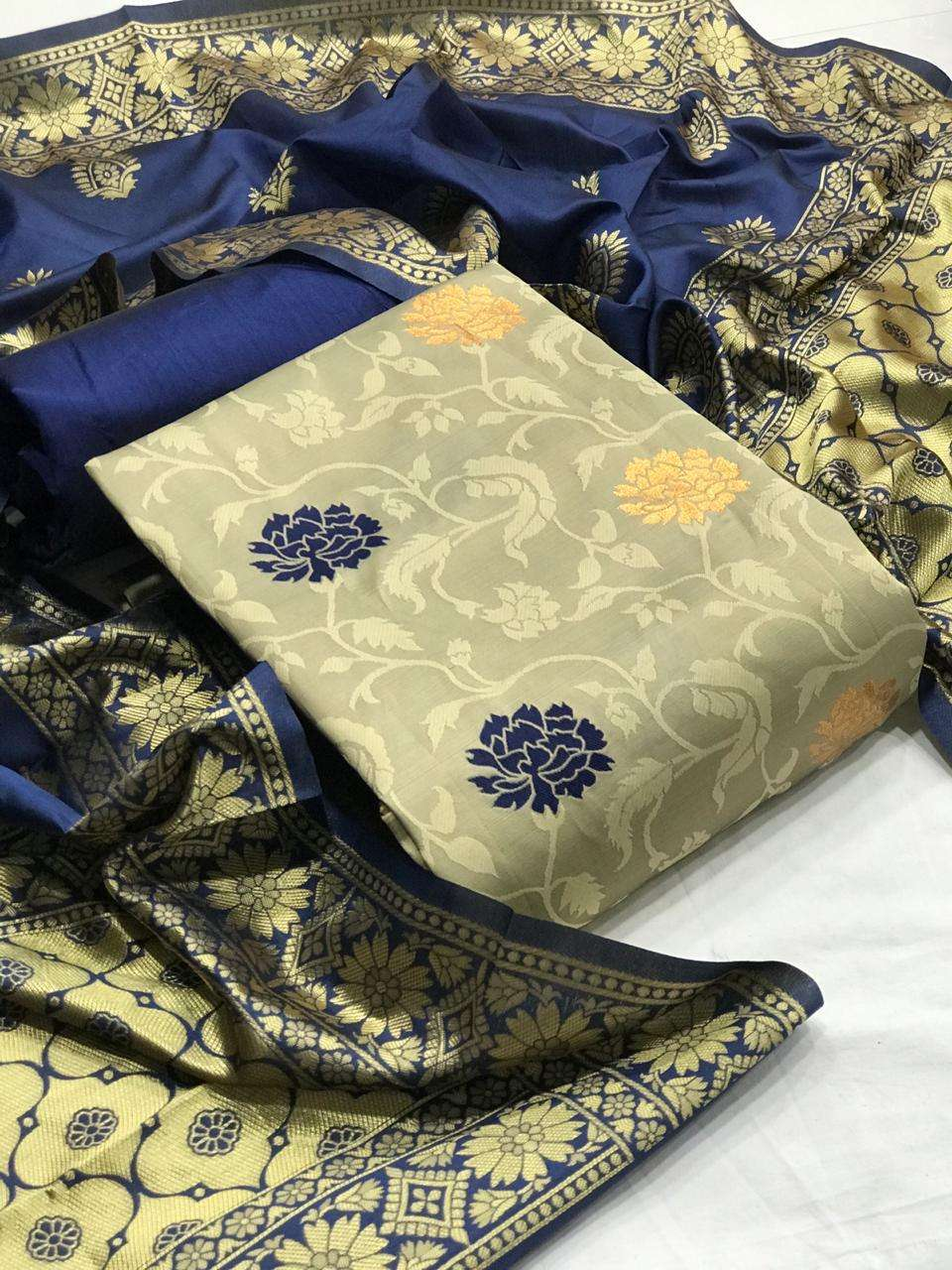 DESIGNER BANARASI SILK 5 WITH EMBROIDERY WORK SUITS IN SINGLES