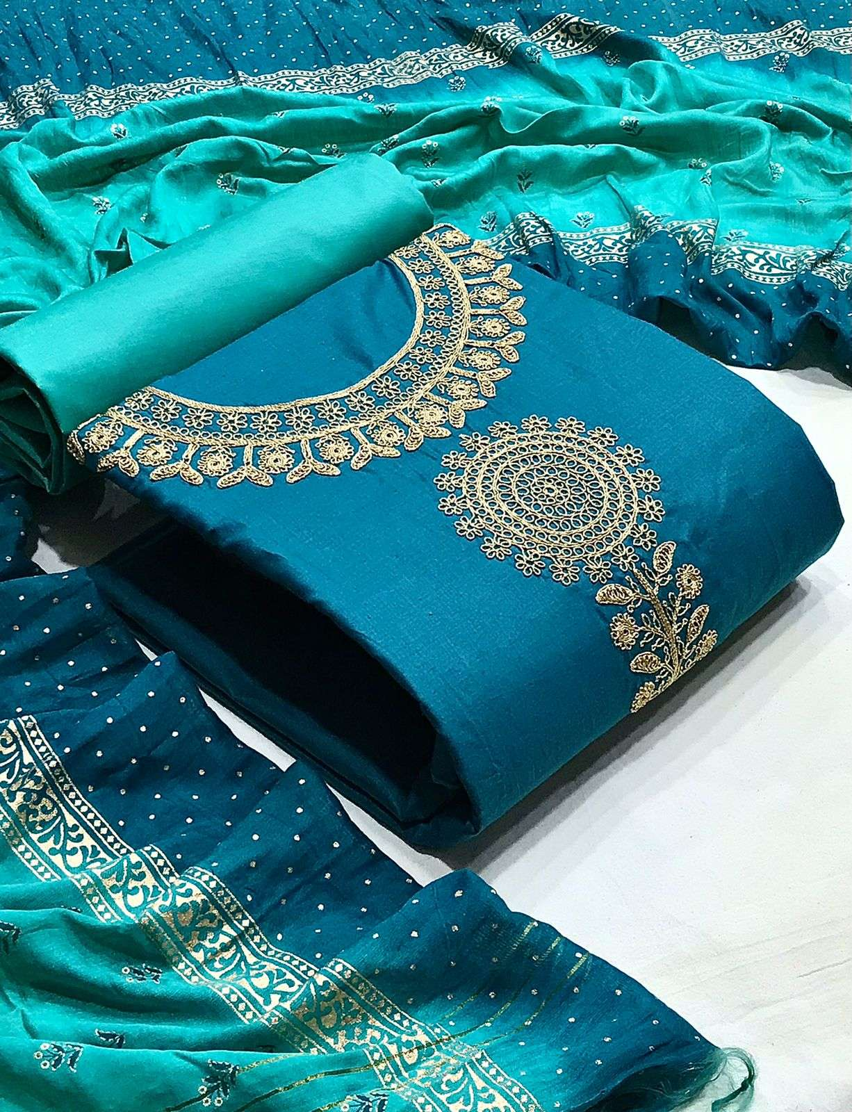 DESIGNER COTTON WITH NECK COADING EMBROIDERY WORK CASUAL WEAR SUITS IN SINGLES