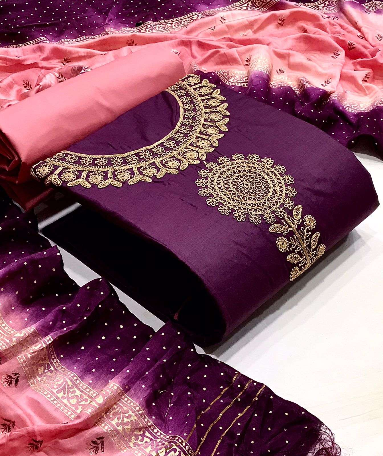DESIGNER COTTON WITH NECK COADING EMBROIDERY WORK SUITS IN SINGLES
