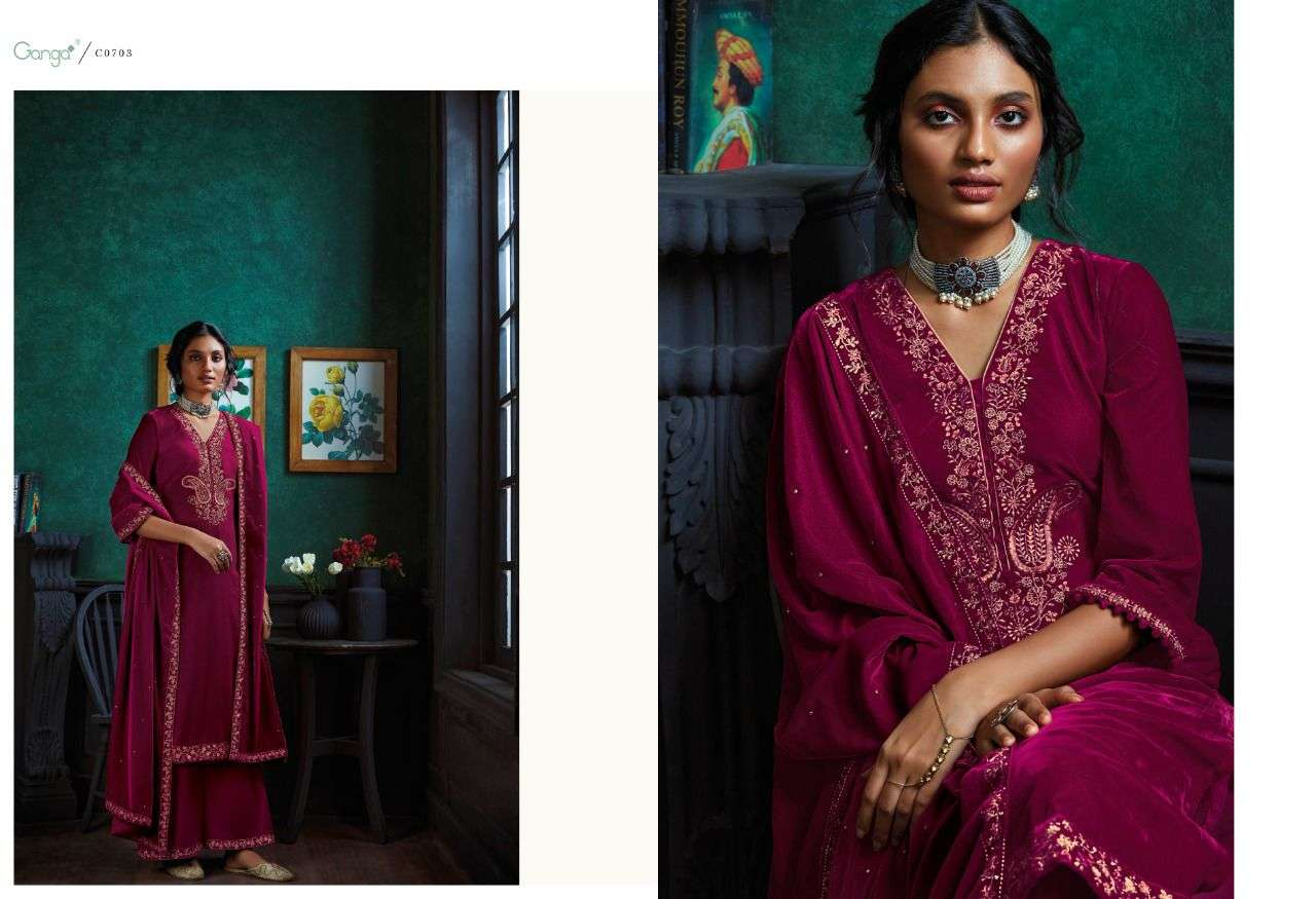 GANGA QURB DESIGNER VELVET WITH EMBROIDERY WORK AND HANDWORK PARTYWEAR SUITS WHOLESALE