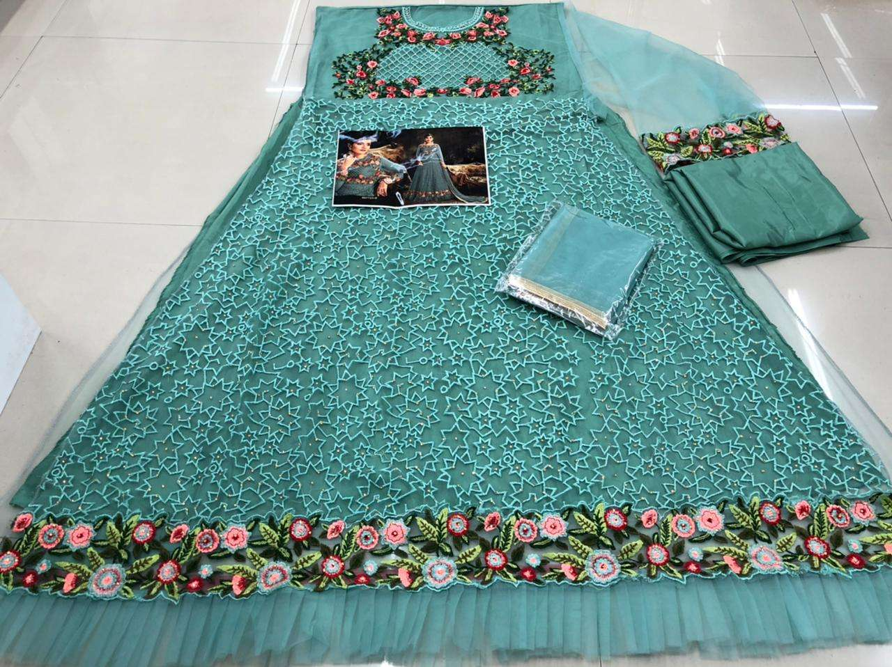 HOTLADYY 7723 04 DESIGNER HEAVY NET EMBROIDERY WORK PARTYWEAR UNSTITCHED GOWN WITH DUPATTA IN SINGLES