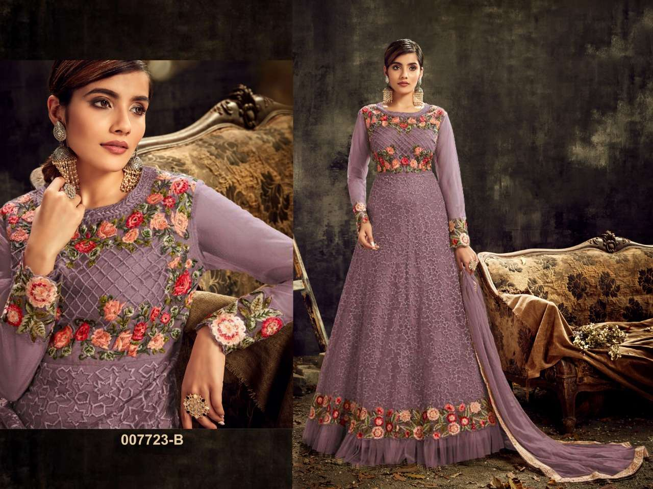 HOTLADYY 7723 05 DESIGNER HEAVY NET EMBROIDERY WORK PARTYWEAR UNSTITCHED GOWN WITH DUPATTA IN SINGLES
