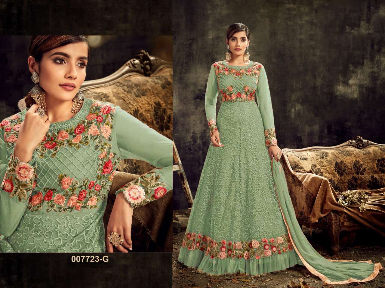 HOTLADYY 7723 DESIGNER HEAVY NET WITH EMBROIDERY WORK UNSTITCHED GOWNS IN SINGLES