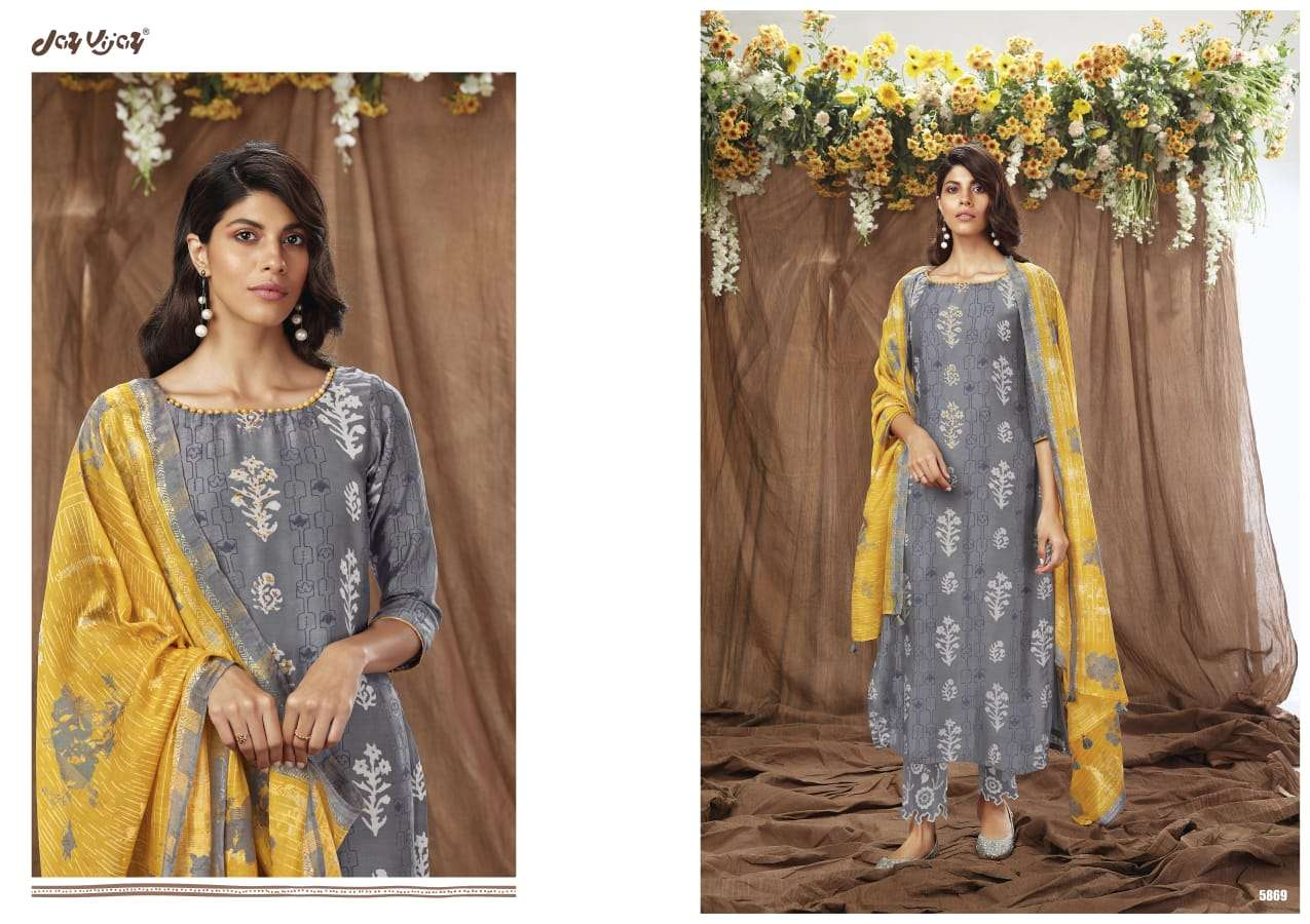 JAY VIJAY HITS OF NOW & NOW DESIGNER MOGA SILK BATIK PRINT WITH EMBROIDERY WORK SUITS WHOLESALE