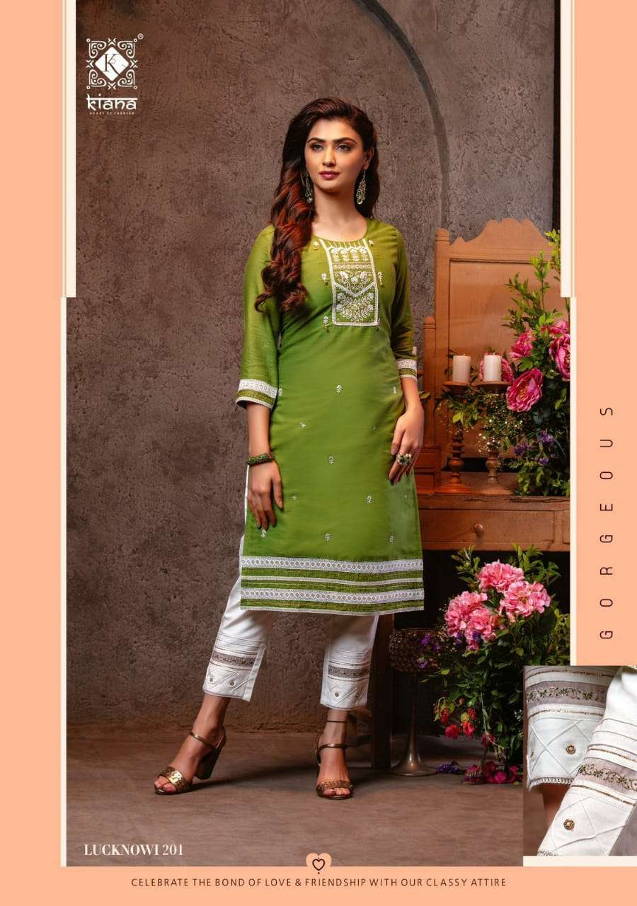 KIANA HOUSE OF FASHION LUCKNOWI VOL 2 DESIGNER COTTON JACQURD WITH LUCKNOWI WORK PARTYWEAR KURTI WITH PANT WHOLESALE