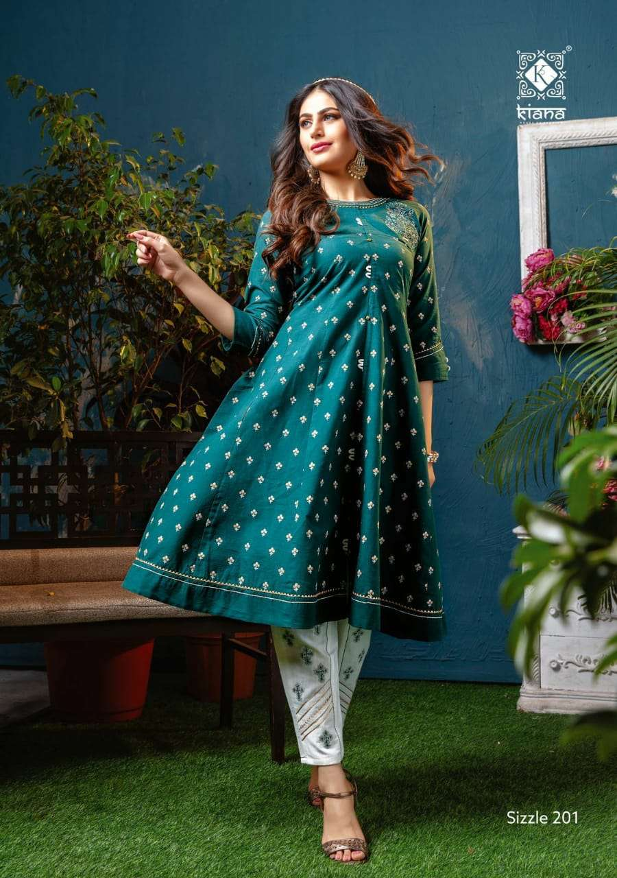 KIANA HOUSE OF FASHION SIZZLE VOL 2 DESIGNER COTTON GOLD PRINT WITH DIVIDER PLAZZO, SHARARA AND PENT PARTYWEAR COLLECTION WHOLESALE
