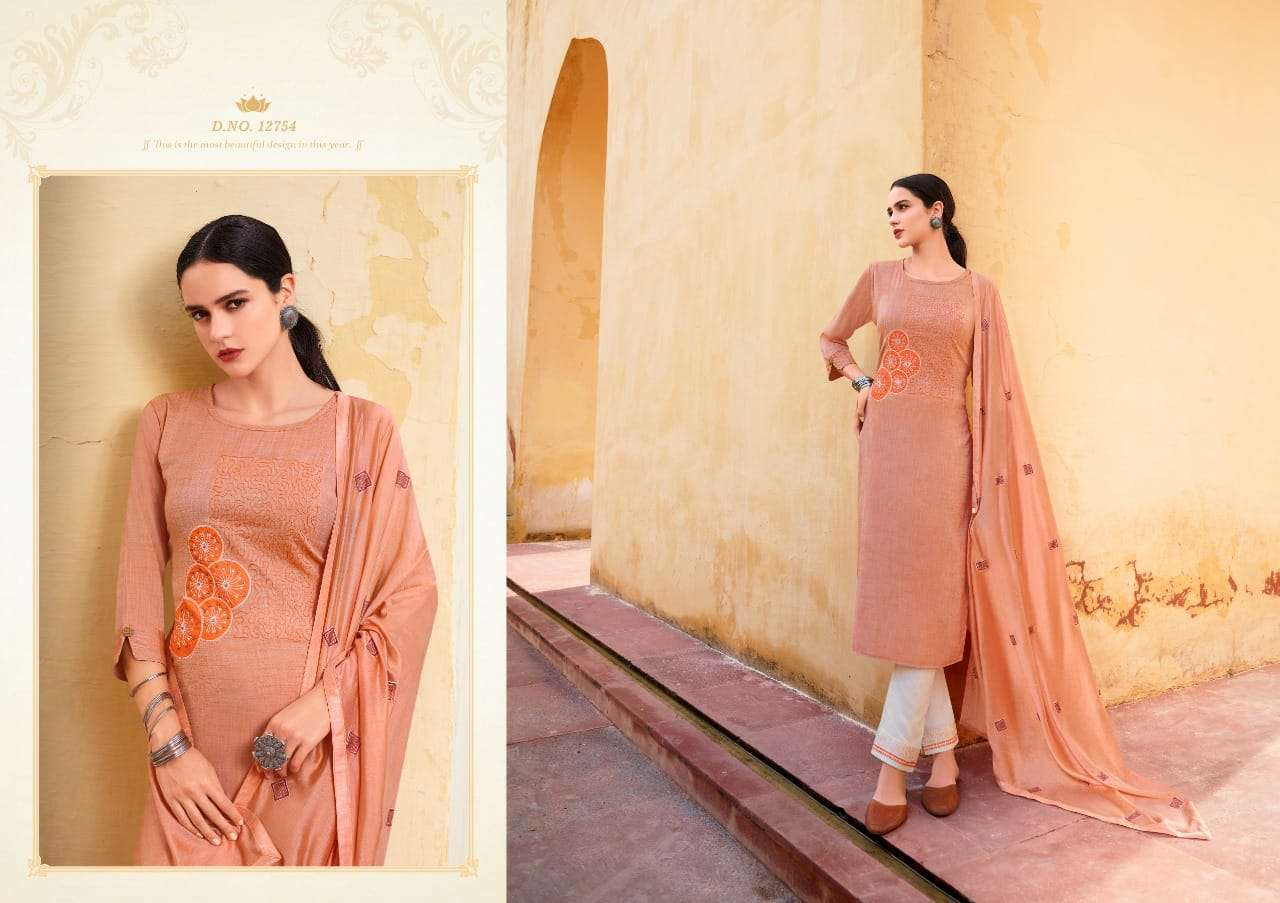 KIVI BY KAJREE AANGAN DESIGNER FANCY FABRIC WITH EMBROIDERY WORK AND STONE WORK READYMADE SUITS WHOLESALE