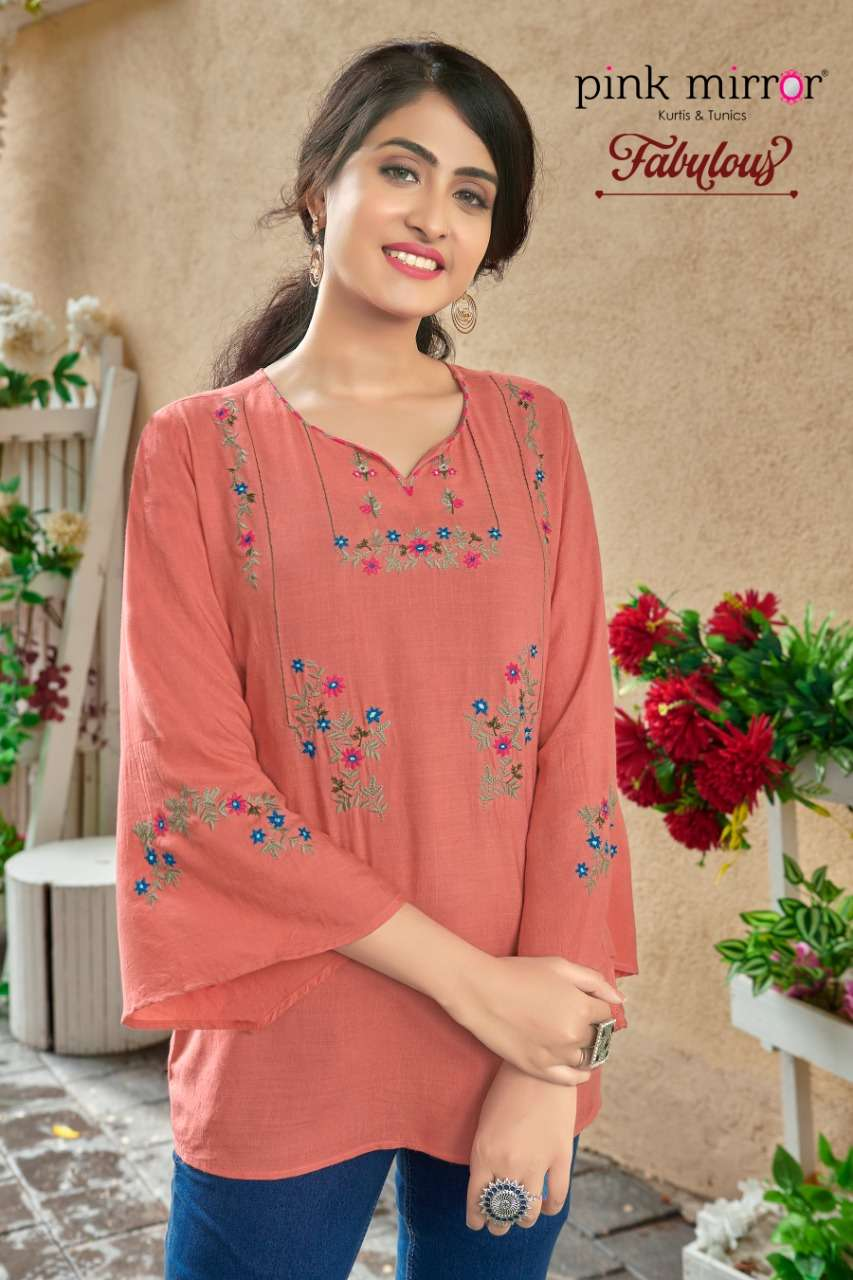 PINK MIRROR FABULOUS RAYON WITH EMBROIDERY WORK SHORT TOPS WHOLESALE