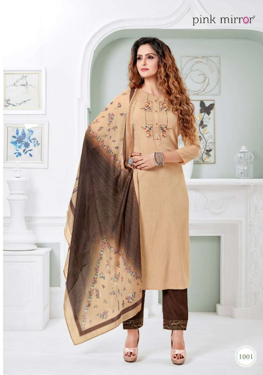 PINK MIRROR SERENITY DESIGNER VISCOSE SILK LIVA  WITH EMBROIDERY AND HANDWORK READYMADE SUITS WHOLESALE