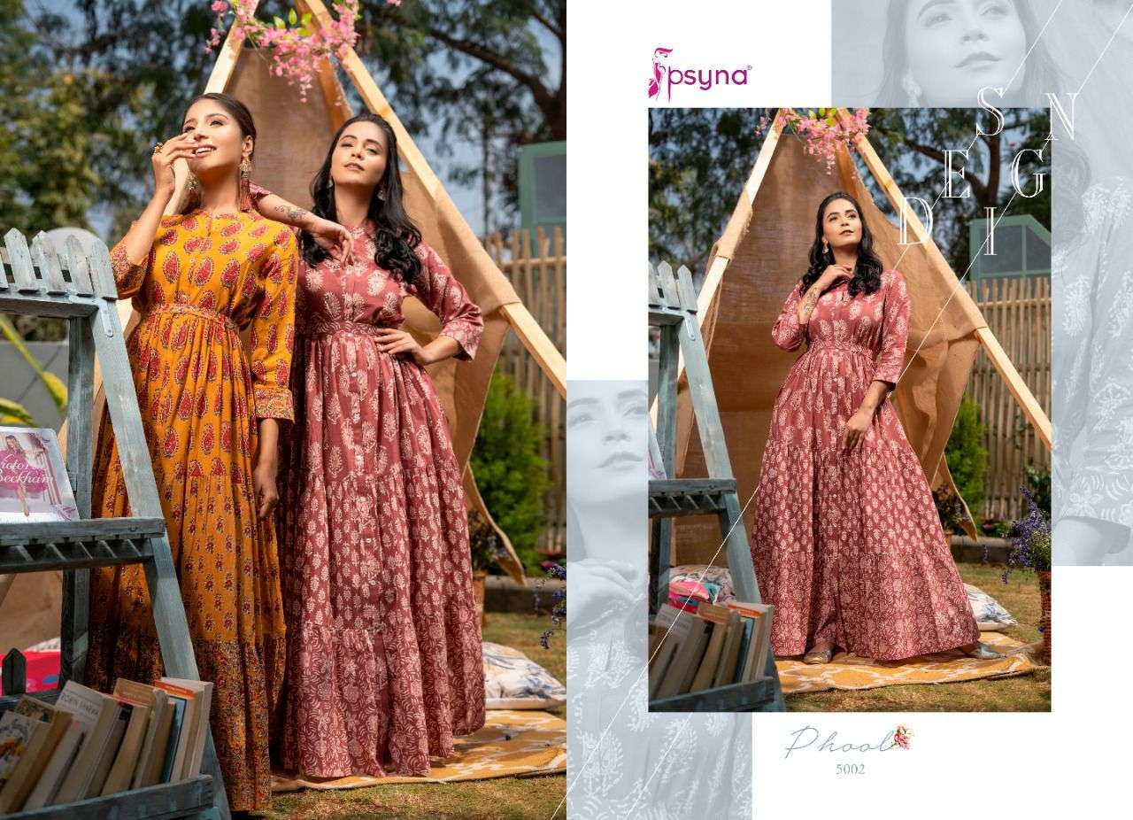 PSYNA PHOOL VOL 5 DESIGNER CAMBRIC COTTON PRINTED OCCASIONAL WEAR LONG GOWNS WHOLESALE