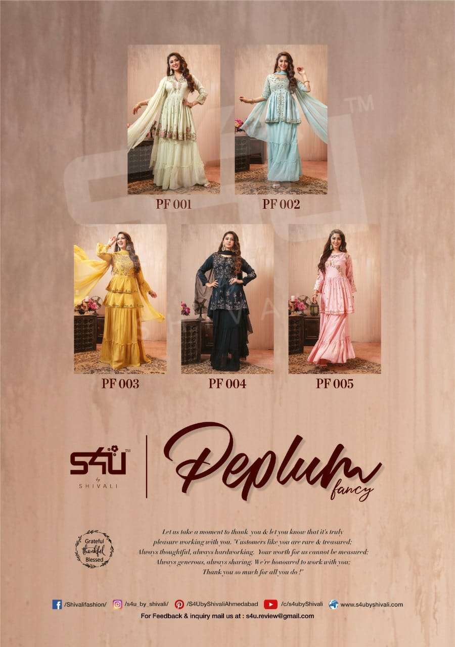 S4U PEPLUM FANCY DESIGNER GEORGETTE WITH EMBROIDERY WORK PARTYWEAR OR OCCASIONAL WEAR READYMADE MADE SHARARA SUITS WHOLESALE
