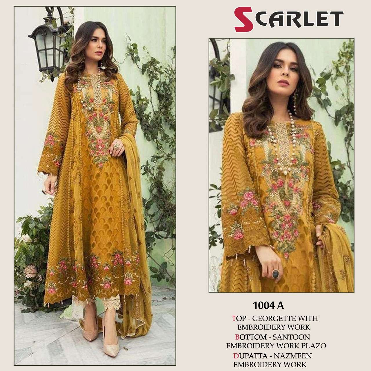 SCARLET 1004 A DESIGNER GEORGETTE WITH EMBROIDERY WORK PAKISTANI REPLICA SUITS SINGLES