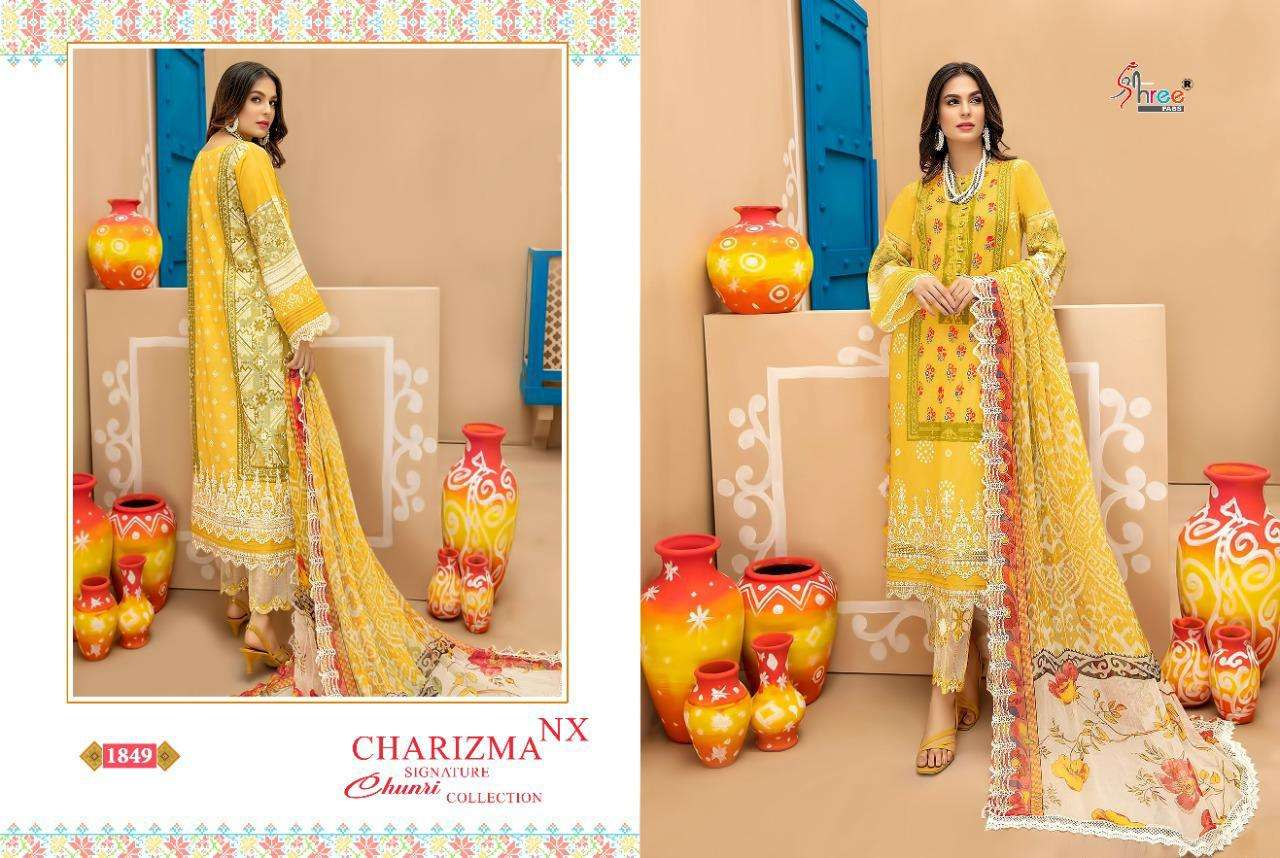 SHREE FAB CHARIZMA SIGNATURE CHUNARI COLLECTION NX DESIGNER COTTON PRINTED WITH EMBROIDERY WORK PAKISTANI PATTERN SUITS IN SINGLES