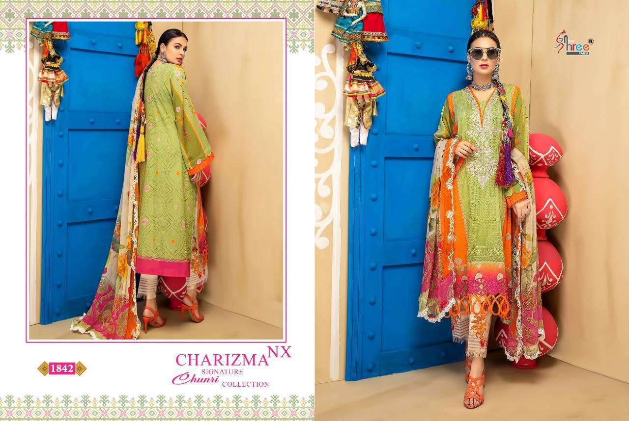 SHREE FAB CHARIZMA SIGNATURE CHUNARI COLLECTION NX DESIGNER COTTON PRINTED WITH EMBROIDERY WORK SUITS IN SINGLES