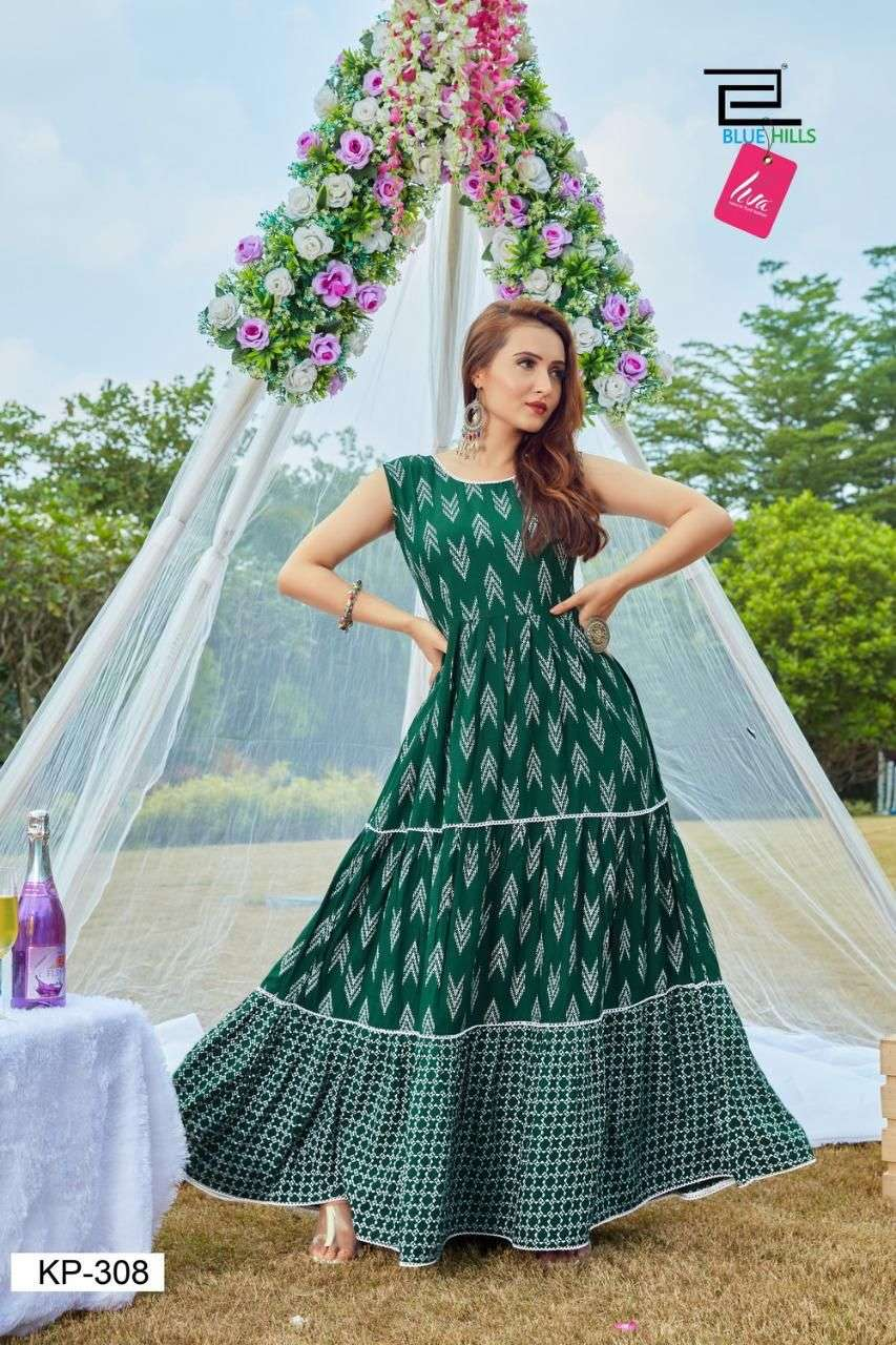BLUE HILLS KITTY PARTY VOL 6 DESIGNER RAYON PRINTED LONG FRILL GOWN STYLE KURTIS WHOLESALE
