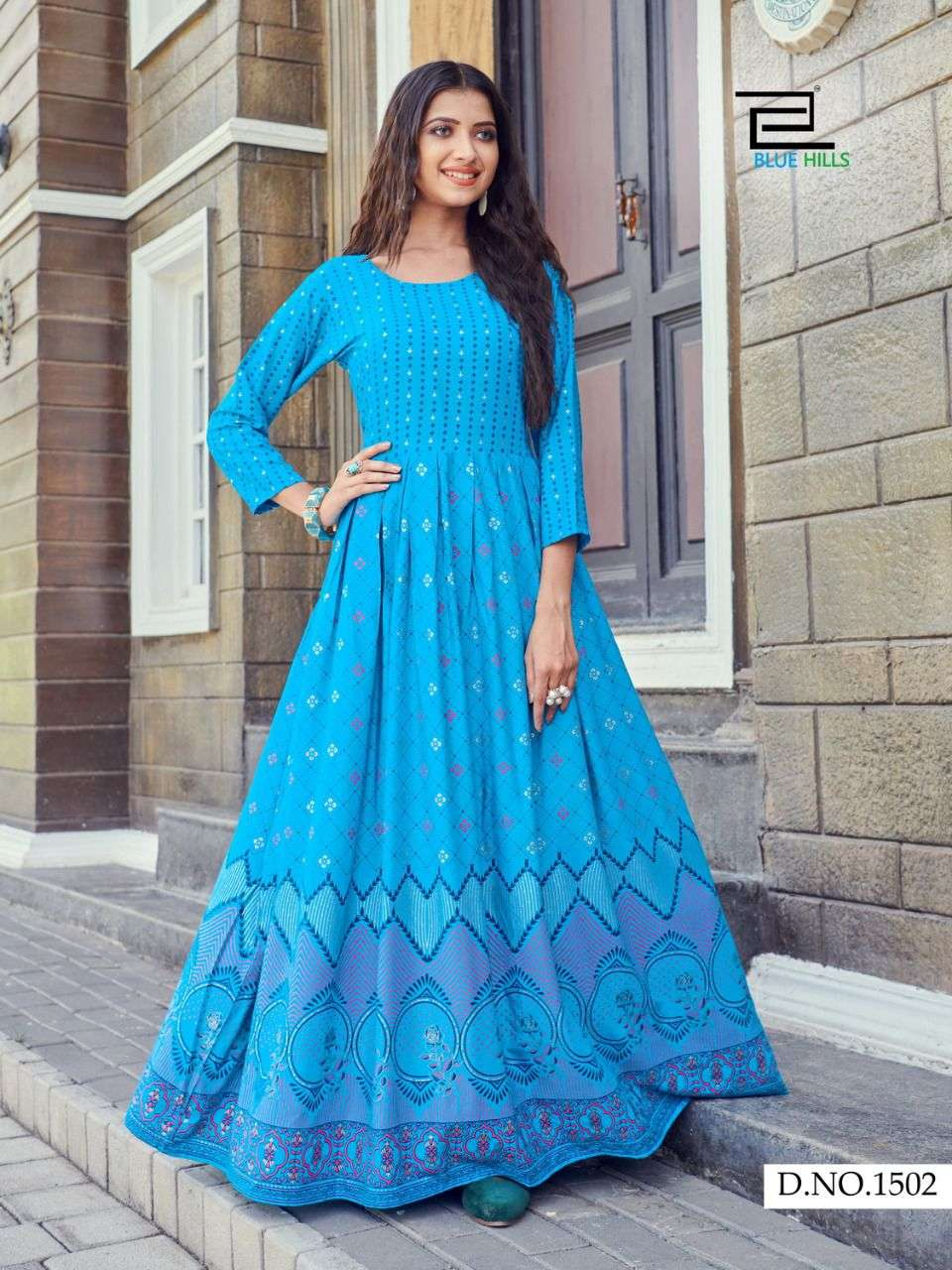 BLUE HILLS WALKWAY VOL 15 RAYON FOIL PRINTED LONG PARTYWEAR GOWNS WHOLESALE