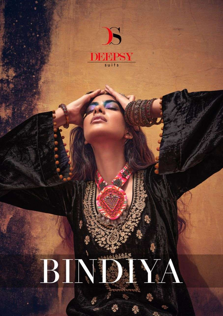 DEEPSY SUITS BINDIYA DESIGNER VISCOSE VELVET WITH EMBROIDERY WORK SUITS WHOLESALE