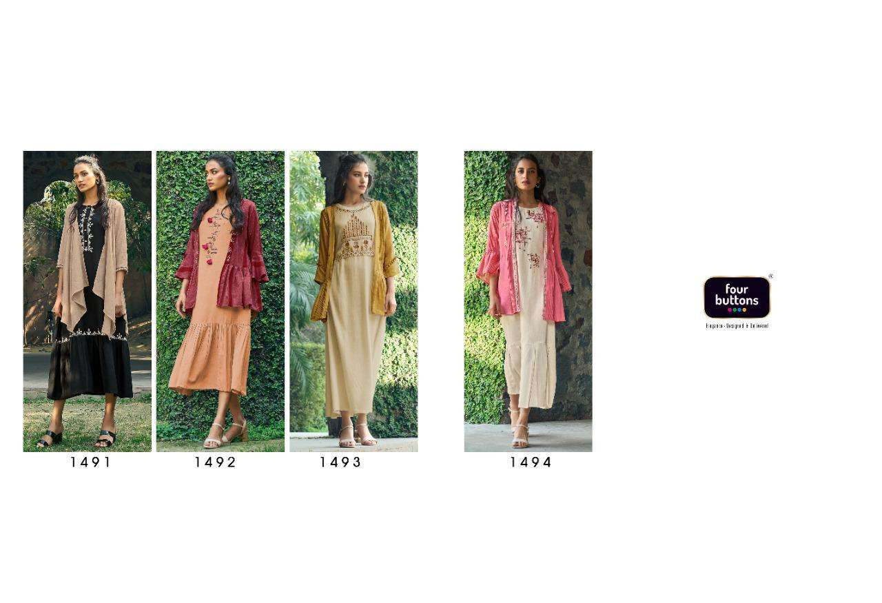 FOUR BUTTONS BLOOM DESIGNER COTTON FLEX PLACEMENT EMBROIDERY WORK KURTI WITH JACKET OUTDOOR WEAR WHOLESALE