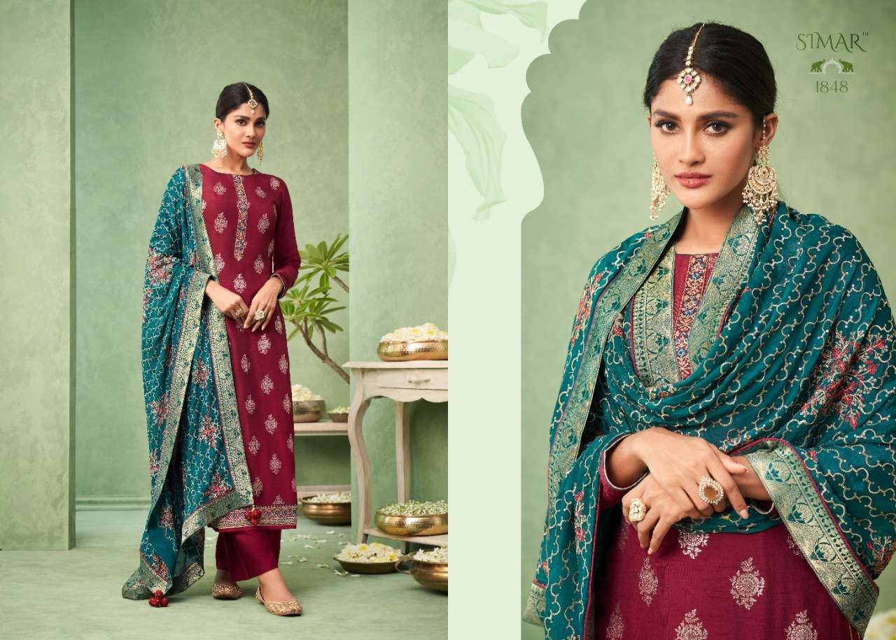 GLOSSY GULNOOR DESIGNER VISCOSE DOLA JACQURD WITH EMBROIDERY WORK SUITS WHOLESALE
